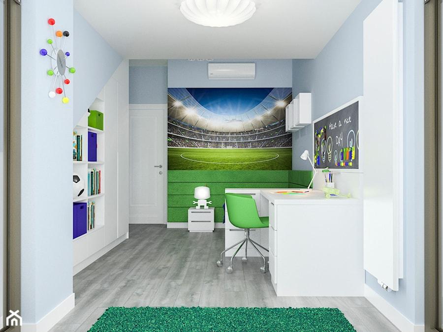Projekt wnętrz mieszkania - Średni niebieski pokój dziecka dla chłopca dla malucha dla nastolatka, styl nowoczesny - zdjęcie od ARCHISSIMA