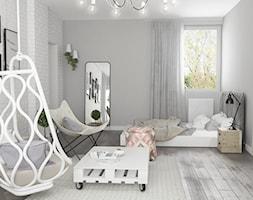 Projekt wnętrz domu - Duży biały szary pokój dziecka dla dziewczynki dla nastolatka, styl skandynawski - zdjęcie od ARCHISSIMA