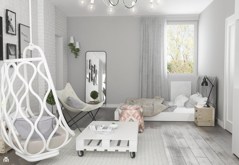 Projekt wnętrz domu - Duży biały szary pokój dziecka dla dziewczynki dla nastolatka, styl skandyna ... - zdjęcie od ARCHISSIMA - Homebook