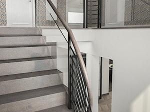 Projekt wnętrz domu - Średnie wąskie schody dwubiegowe kamienne, styl art deco - zdjęcie od ARCHISSIMA