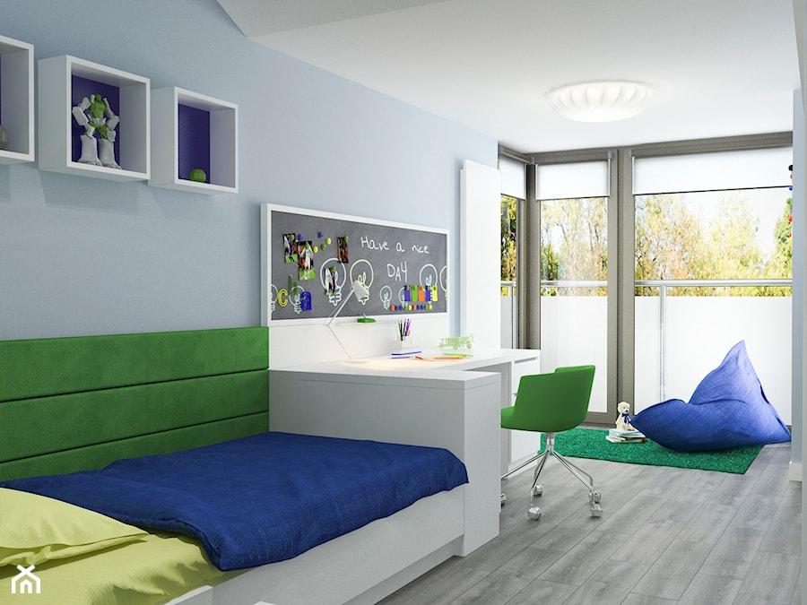 Aranżacje wnętrz - Pokój dziecka: Projekt wnętrz mieszkania - Średni niebieski pokój dziecka dla chłopca dla nastolatka, styl nowoczesny - ARCHISSIMA. Przeglądaj, dodawaj i zapisuj najlepsze zdjęcia, pomysły i inspiracje designerskie. W bazie mamy już prawie milion fotografii!