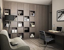 Projekt wnętrz mieszkania - Duże szare biuro kącik do pracy w pokoju, styl nowoczesny - zdjęcie od ARCHISSIMA