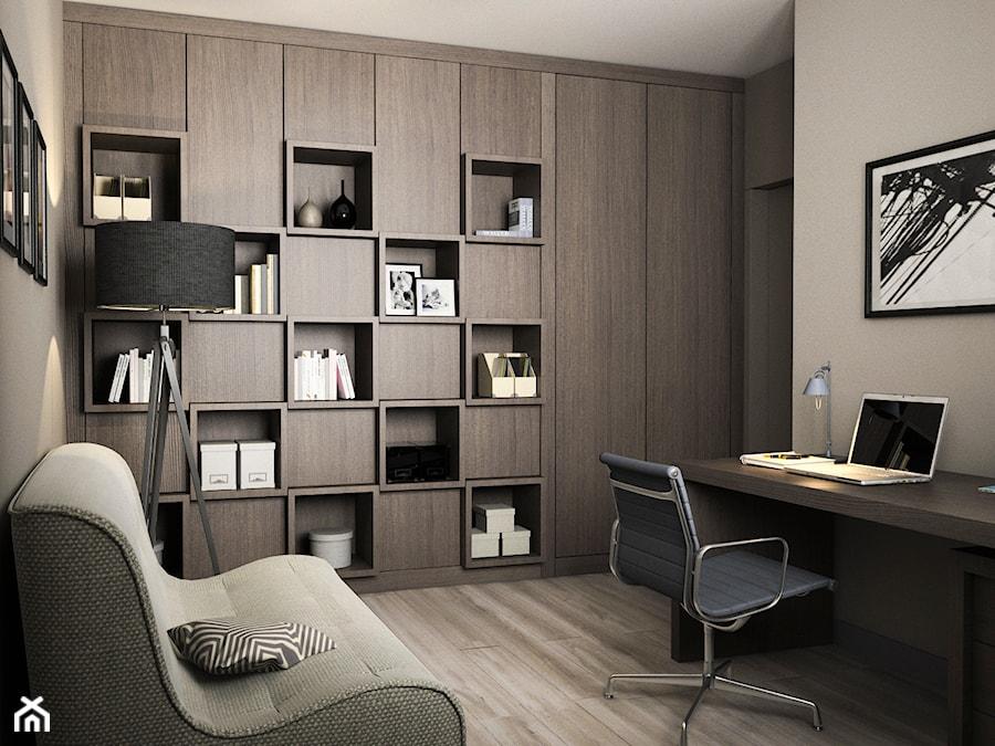 Aranżacje wnętrz - Biuro: Projekt wnętrz mieszkania - Duże szare biuro kącik do pracy w pokoju, styl nowoczesny - ARCHISSIMA. Przeglądaj, dodawaj i zapisuj najlepsze zdjęcia, pomysły i inspiracje designerskie. W bazie mamy już prawie milion fotografii!