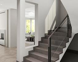 Projekt wnętrz domu - Średnie wąskie schody wachlarzowe drewniane betonowe, styl art deco - zdjęcie od ARCHISSIMA