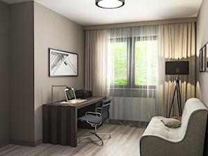 Projekt wnętrz mieszkania - Małe beżowe biuro kącik do pracy w pokoju, styl nowoczesny - zdjęcie od ARCHISSIMA
