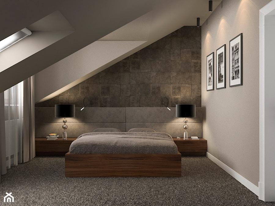Projekt Wnętrz Mieszkania średnia Szara Sypialnia