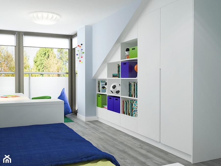Projekt wnętrz mieszkania - Średni biały niebieski pokój dziecka dla chłopca dla ucznia dla nastolatka, styl nowoczesny - zdjęcie od ARCHISSIMA