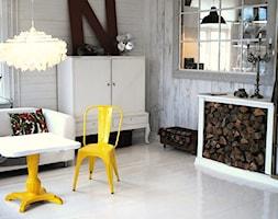 Mała otwarta biała jadalnia w salonie, styl eklektyczny - zdjęcie od Ploneres.pl