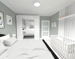 REFRESH SYPIALNI 14m² - Średnia szara sypialnia małżeńska, styl skandynawski - zdjęcie od WNĘTRZNOŚCI Projektowanie wnętrz i mebli Aneta Stokowska