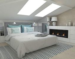 Sypialnia na poddaszu - Średnia biała sypialnia małżeńska na poddaszu, styl nowoczesny - zdjęcie od WNĘTRZNOŚCI Projektowanie wnętrz i mebli Aneta Stokowska