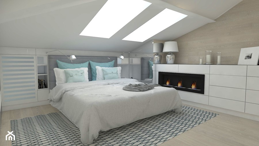Sypialnia na poddaszu - Średnia biała sypialnia małżeńska na poddaszu, styl nowoczesny - zdjęcie od WNĘTRZNOŚCI Projektowanie wnętrz Aneta Stokowska