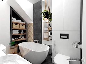 WAWER - Mała średnia biała czarna łazienka na poddaszu, styl nowoczesny - zdjęcie od WNĘTRZNOŚCI Projektowanie wnętrz i mebli Aneta Stokowska