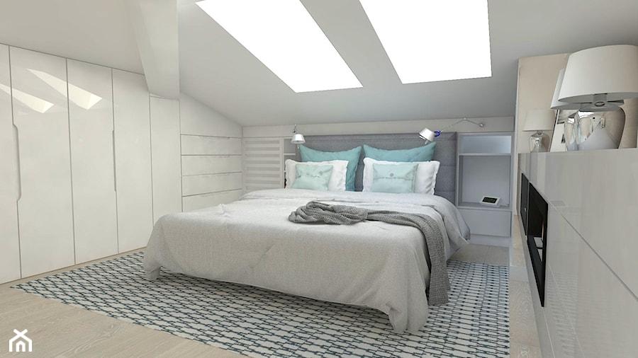 Sypialnia na poddaszu - Średnia sypialnia małżeńska na poddaszu, styl nowoczesny - zdjęcie od ...