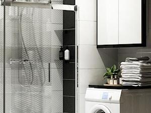 Metamorfoza łazienki i wc Błonie - Mała czarna szara łazienka w bloku w domu jednorodzinnym bez okna, styl glamour - zdjęcie od APkwadrat