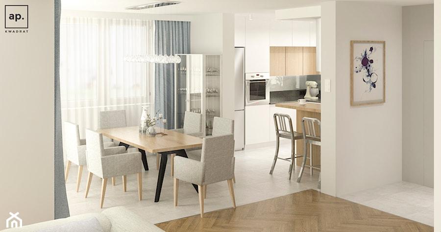 Aranżacje wnętrz - Jadalnia: Średnia otwarta beżowa jadalnia w kuchni, styl minimalistyczny - APkwadrat. Przeglądaj, dodawaj i zapisuj najlepsze zdjęcia, pomysły i inspiracje designerskie. W bazie mamy już prawie milion fotografii!
