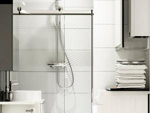 Metamorfoza łazienki i wc Błonie - Mała łazienka w bloku w domu jednorodzinnym bez okna, styl glamour - zdjęcie od APkwadrat