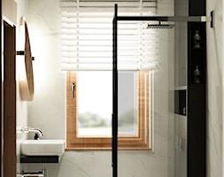 Projekt wnętrz domu w Grodzisku Mazowieckim. - Mała szara łazienka w bloku w domu jednorodzinnym z oknem, styl nowoczesny - zdjęcie od APkwadrat