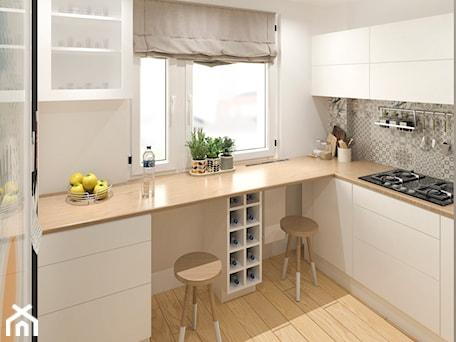 Aranżacje wnętrz - Kuchnia: Mieszkanie Łódź - Średnia zamknięta biała kuchnia w kształcie litery l w aneksie z oknem - APkwadrat. Przeglądaj, dodawaj i zapisuj najlepsze zdjęcia, pomysły i inspiracje designerskie. W bazie mamy już prawie milion fotografii!