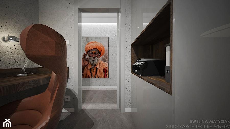 Aranżacje wnętrz - Biuro: Yosemite - Małe szare biuro pracownia kącik do pracy, styl nowoczesny - Ewelina Matysiak. Przeglądaj, dodawaj i zapisuj najlepsze zdjęcia, pomysły i inspiracje designerskie. W bazie mamy już prawie milion fotografii!