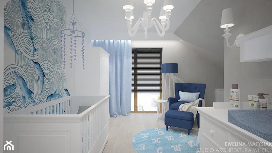 Clever Elegance - Średni biały szary niebieski pokój dziecka dla chłopca dla dziewczynki dla ucznia dla niemowlaka, styl glamour - zdjęcie od Ewelina Matysiak