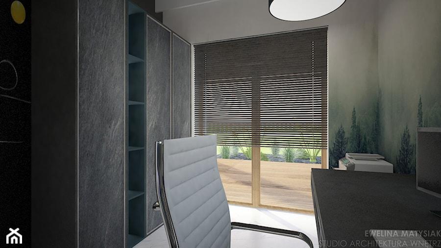 Clever Elegance - Małe szare biuro domowe kącik do pracy, styl nowoczesny - zdjęcie od Ewelina Matysiak