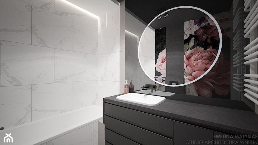 Mieszkanie w Warszawie - Mała biała czarna łazienka w bloku w domu jednorodzinnym bez okna, styl nowoczesny - zdjęcie od Ewelina Matysiak