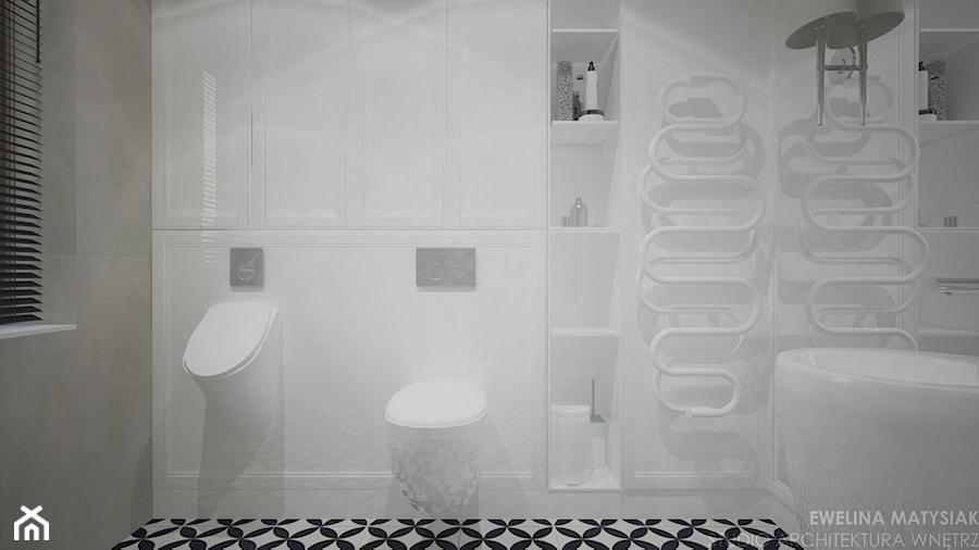 Clever Elegance - Mała biała łazienka w bloku w domu jednorodzinnym z oknem, styl glamour - zdjęcie od Ewelina Matysiak