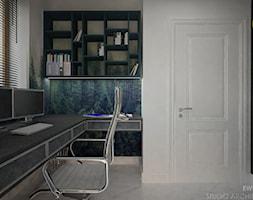 Clever Elegance - Małe czarne szare biuro kącik do pracy, styl nowoczesny - zdjęcie od Ewelina Matysiak