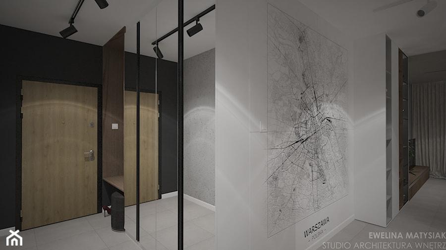 Mieszkanie w Warszawie - Średni biały czarny hol / przedpokój, styl nowoczesny - zdjęcie od Ewelina Matysiak
