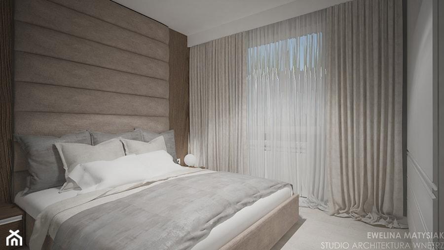 Mieszkanie w Warszawie - Mała biała sypialnia małżeńska, styl nowoczesny - zdjęcie od Ewelina Matysiak