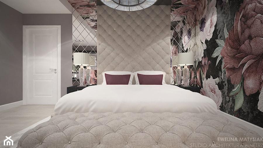 Clever Elegance - Średnia szara kolorowa sypialnia małżeńska, styl glamour - zdjęcie od Ewelina Matysiak