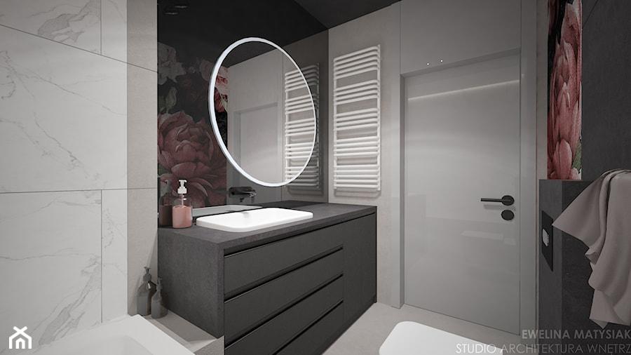 Mieszkanie w Warszawie - Mała czarna szara łazienka na poddaszu w bloku w domu jednorodzinnym bez okna, styl nowoczesny - zdjęcie od Ewelina Matysiak