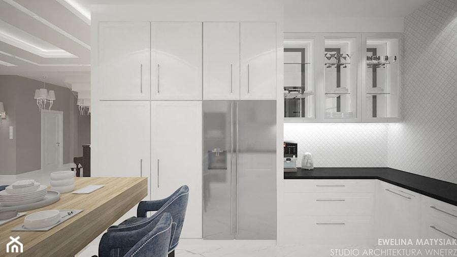 Clever Elegance - Średnia otwarta szara kuchnia w kształcie litery l w aneksie, styl glamour - zdjęcie od Ewelina Matysiak
