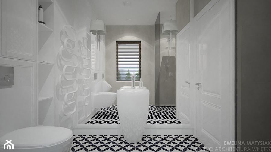 Clever Elegance - Średnia szara łazienka w bloku w domu jednorodzinnym z oknem, styl glamour - zdjęcie od Ewelina Matysiak