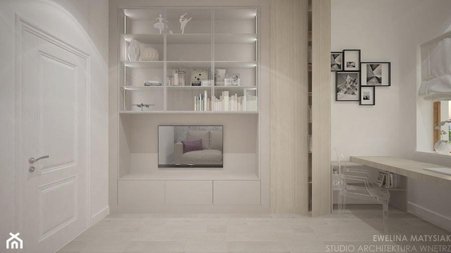 Clever Elegance - Średnie szare białe biuro domowe kącik do pracy w pokoju, styl klasyczny - zdjęcie od Ewelina Matysiak
