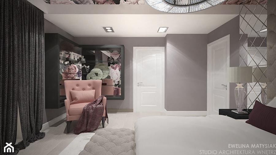 Clever Elegance - Średnia szara sypialnia małżeńska, styl glamour - zdjęcie od Ewelina Matysiak