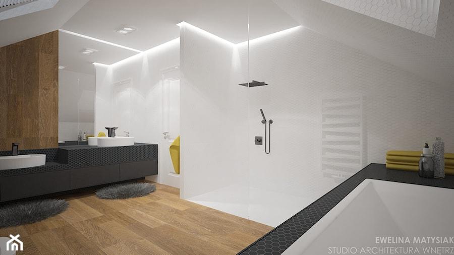 Clever Elegance - Średnia biała łazienka na poddaszu w domu jednorodzinnym bez okna, styl nowoczesny - zdjęcie od Ewelina Matysiak