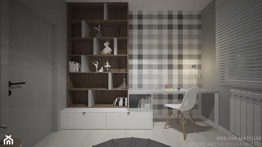 Mieszkanie w Warszawie - Mały szary pokój dziecka dla chłopca dla dziewczynki dla ucznia dla malucha dla nastolatka, styl nowoczesny - zdjęcie od Ewelina Matysiak