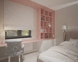 Yosemite - Mały szary różowy pokój dziecka dla dziewczynki dla ucznia dla nastolatka, styl nowoczesny - zdjęcie od Ewelina Matysiak