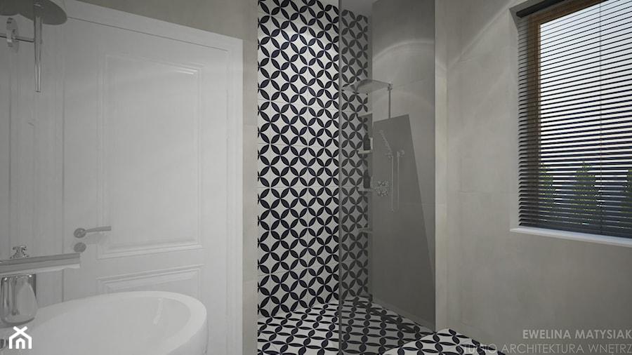 Clever Elegance - Mała biała czarna szara łazienka w bloku w domu jednorodzinnym z oknem, styl glamour - zdjęcie od Ewelina Matysiak