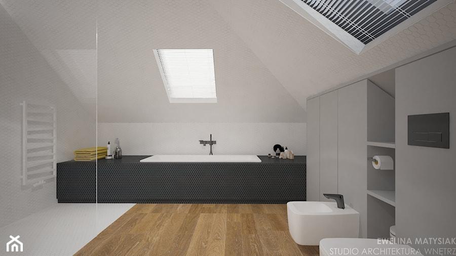 Clever Elegance - Średnia biała łazienka na poddaszu w domu jednorodzinnym z oknem, styl nowoczesny - zdjęcie od Ewelina Matysiak