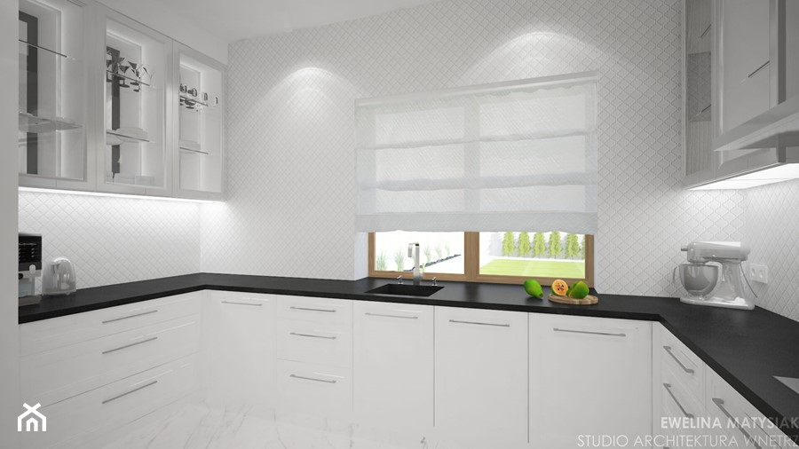 Clever Elegance - Średnia biała kuchnia w kształcie litery u z oknem, styl glamour - zdjęcie od Ewelina Matysiak