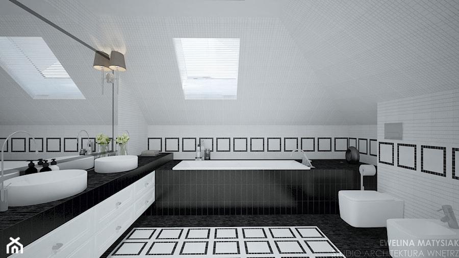 Clever Elegance - Średnia łazienka na poddaszu w domu jednorodzinnym z oknem, styl glamour - zdjęcie od Ewelina Matysiak