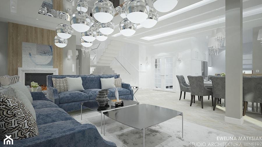 Clever Elegance - Średni szary salon z kuchnią z jadalnią, styl glamour - zdjęcie od Ewelina Matysiak