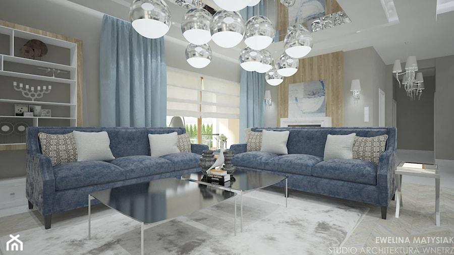 Clever Elegance - Duży szary salon, styl glamour - zdjęcie od Ewelina Matysiak