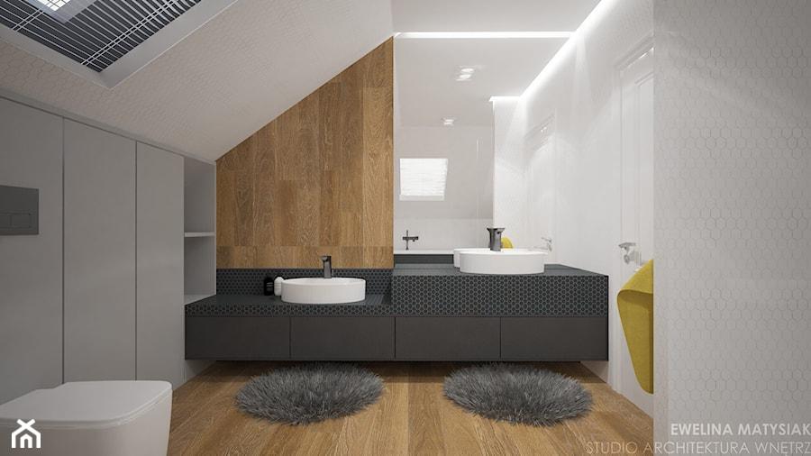 Clever Elegance - Średnia biała szara łazienka na poddaszu, styl nowoczesny - zdjęcie od Ewelina Matysiak