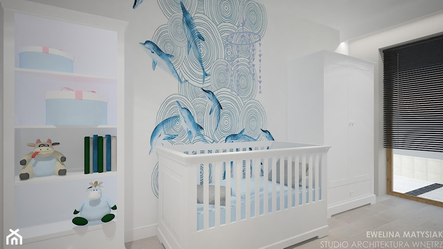 Aranżacje wnętrz - Pokój dziecka: Clever Elegance - Średni biały pokój dziecka dla chłopca dla niemowlaka, styl glamour - Ewelina Matysiak. Przeglądaj, dodawaj i zapisuj najlepsze zdjęcia, pomysły i inspiracje designerskie. W bazie mamy już prawie milion fotografii!