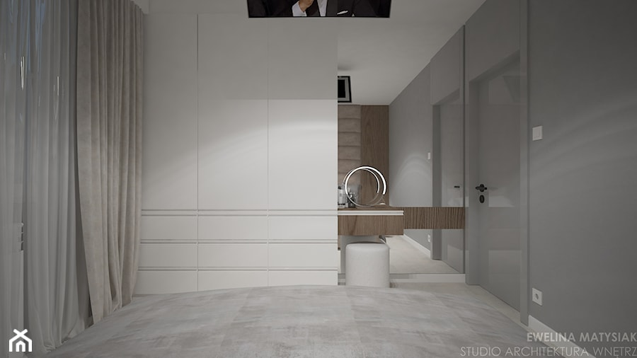 Mieszkanie w Warszawie - Średnia szara sypialnia małżeńska, styl nowoczesny - zdjęcie od mgr sztuki arch. wnętrz Ewelina Matysiak