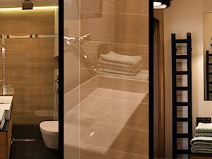 Atrium Park 110m2 - Mała brązowa łazienka w bloku w domu jednorodzinnym bez okna, styl nowoczesny - zdjęcie od Interno