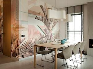 Apartament w pastelach - Średnia otwarta jadalnia w salonie, styl nowoczesny - zdjęcie od Interno
